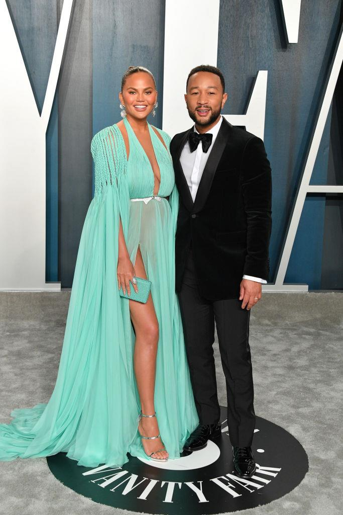 Chrissy Teigen and John Legend at the Vanity Fair Oscar Party on February 9, 2020.