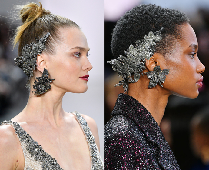 **The trend: Reverse headbands<br> Who did it: Badgley Mischka**<br> Headbands have ruled the runways for a few seasons now, and so Badgley Mischka deemed it time to turn the trend upside down. Literally—the nape of the neck is the new must-accessorise area.