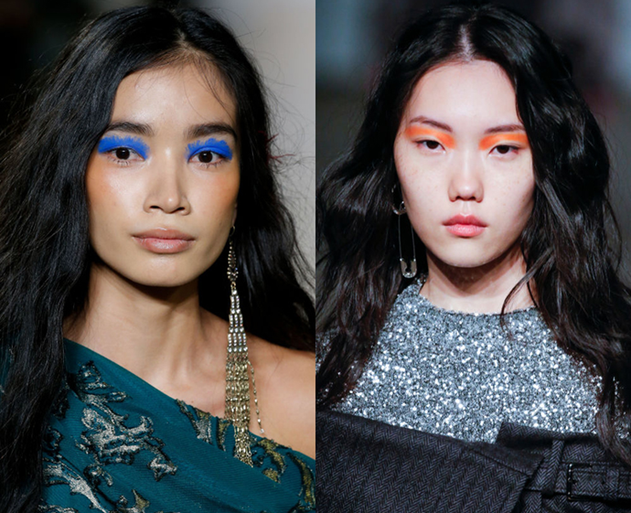 **The trend: Paint splatter shadow<br> Who did it: Tadashi Shoji and Monse**<br> Whether you're partial to the feathered effect of Tadashi Shoji's cobalt colour, or the smooth edges of Monse's neon orange action, statement-making paint splatter shadow is a must-try this season.