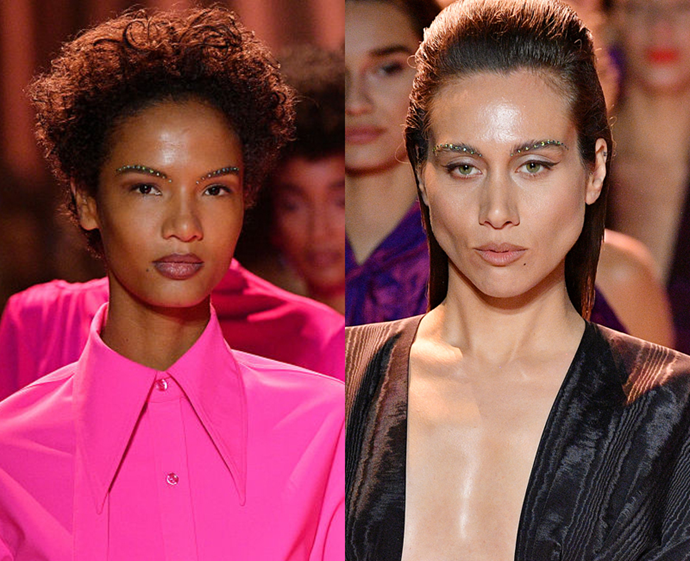 **The trend: Embellished brows<br> Who did it: Christopher John Rogers**<br> Plain old feathery brows are *so* last season; the diamonte-adorned arches that graced the John Rogers runway proved that when it comes to 2020 brow trends, it's go embellished or go home.