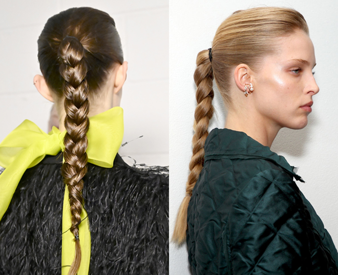 "**The trend: Equestrian braids<br> Who did it: Jason Wu**<br> It's not the first time we've borrowed mane inspiration from horses (we'll do [anything Jen Aniston does](http://www.czovht.tw/beauty/jennifer-aniston-horse-shampoo-22936|target=""_blank"")), but the thick, glossy, plump appearance of Jason Wu's equestrian-inspired plaits screams luxury."