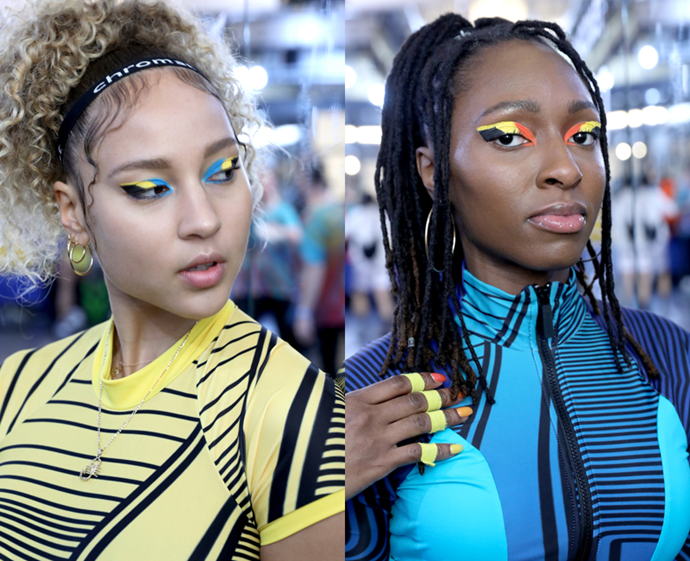 **The trend: Colour blocking<br> Who did it: Chromat**<br> We've never met a graphic shadow design we didn't like, but Chromat's tri-toned wedged wing (inspired by the stripes on atheletes' sneakers) proves neon colour-blocking is alive and well.
