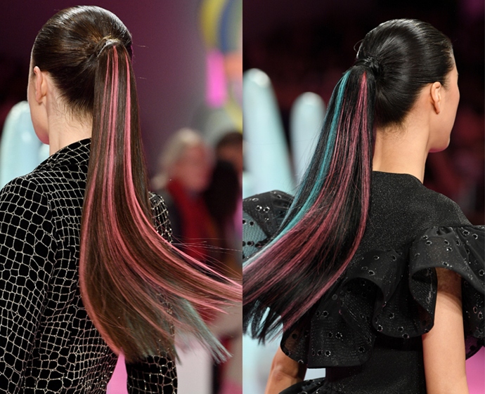 """**The trend: Rainbow ponies<br> Who did it: Christian Siriano**<br> Call it the Harley Quinn effect, but the ponytails swishing down the runway at Christian Siriano were peppered with pink and blue pieces, perhaps as an homage to [Margot Robbie's notorious character](https://www.elle.com.au/celebrity/harley-quinn-movie-18660