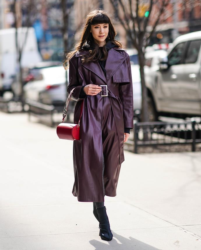 """**Coated In Leather**<br><br>  While the shiny [vinyl trench coat](https://www.elle.com.au/fashion/vinyl-trench-coat-21009