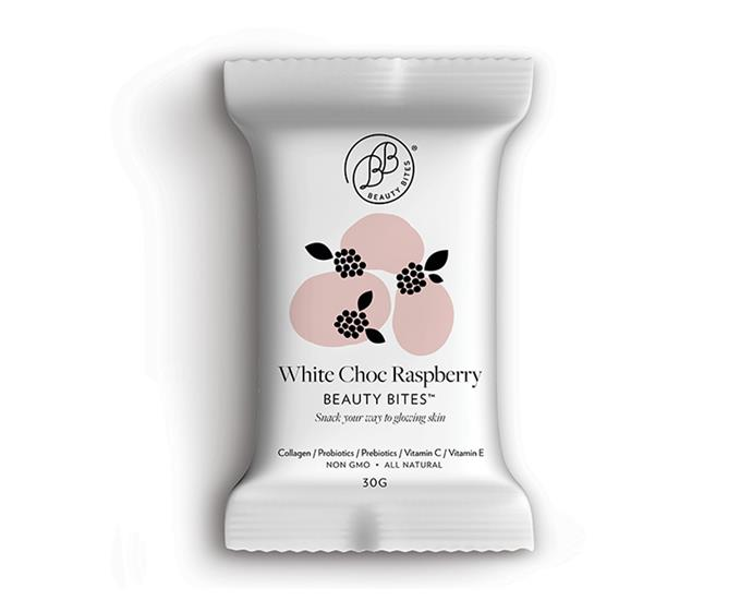 **White Choc Raspberry Bites by Beauty Bites, $3.99 at Priceline Pharmacy (instore only)** <br><br> Boost your collagen levels and snack your way to everyday radiance with these delicious bite-sized treats. Packed with peptides, prebiotics and vitamins, these bites will help keep your skin glowing, hair healthy and your gut happy—the perfect pack-and-go treat for the modern woman.