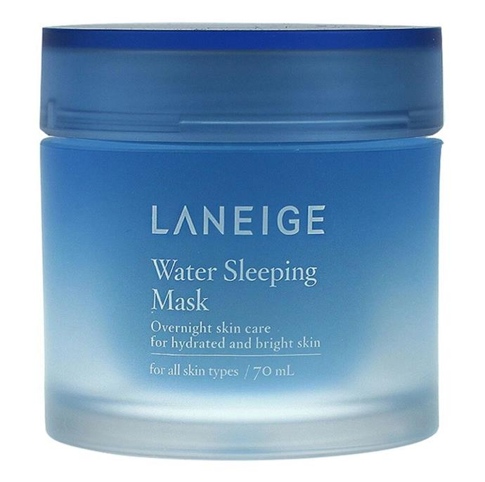 """**'Water Sleeping Mask' by Laneige, $44 for 70mL at [Sephora](https://fave.co/37wneVe target=""""_blank"""" rel=""""nofollow"""")** <br><br> Laneige is one of the most popular brands in the world of K-beauty, and this overnight product feels as gently hydrating as the name implies."""