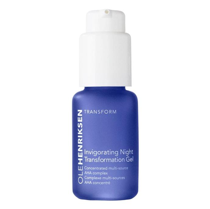 """**'Invigorating Night Transformation' gel by Ole Henriksen, $48 for 29mL at [Sephora](https://fave.co/2P4aRt5 target=""""_blank"""" rel=""""nofollow"""")** <br><br> Though not a conventional cream or 'mask', Ole Henriksen's overnight gel harnesses microalgae, lactic acid and glycolic acid to calmly exfoliate your exasperated skin while you sleep."""