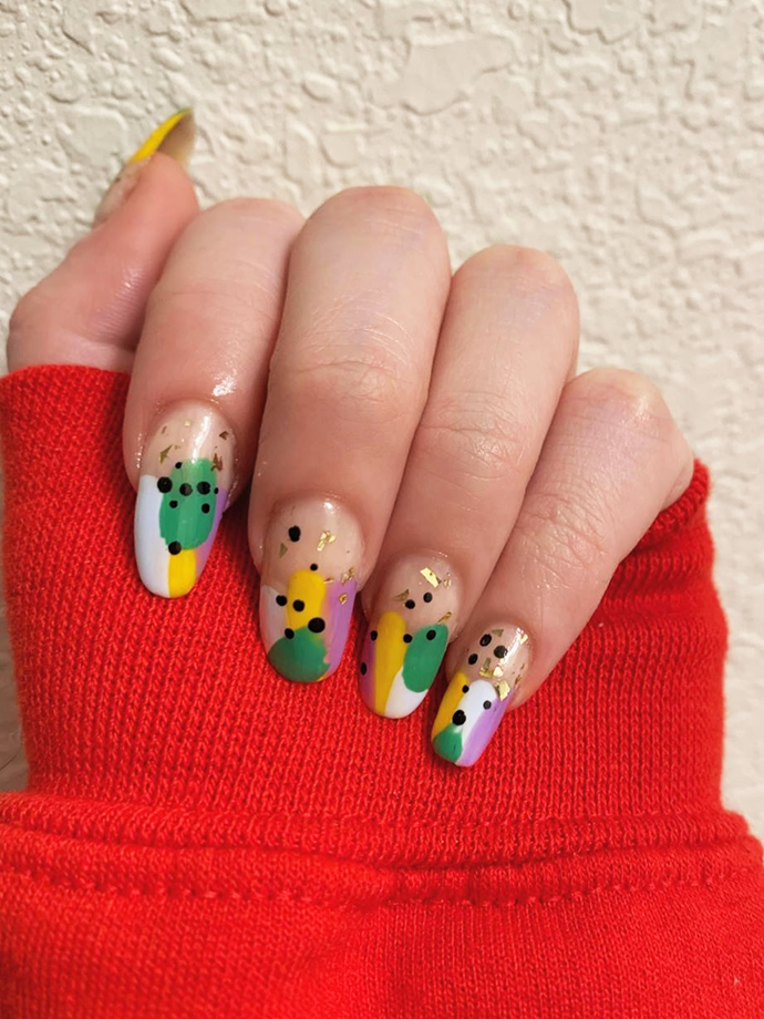 Take the design up a notch with graphic dots and gold foil.<br></br> *Image via: @justinespolish*