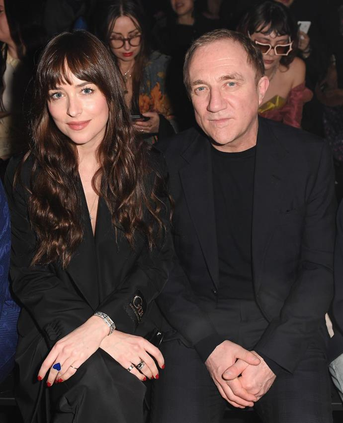 Johnson and Kering CEO Francois-Henri Pinault at Gucci autumn/winter '20.