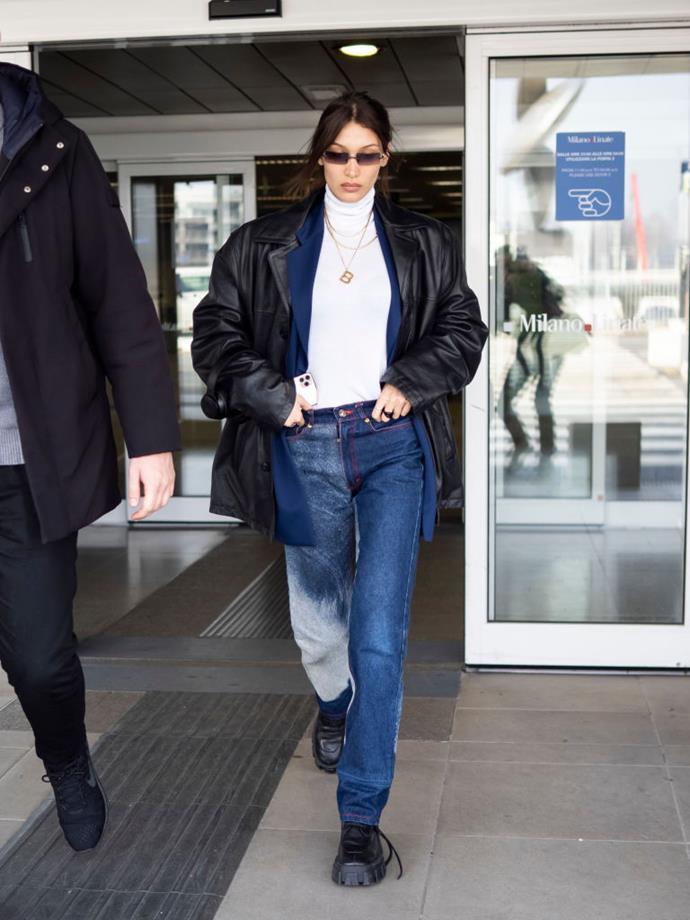 Bella Hadid in Milan on February 19, 2020.