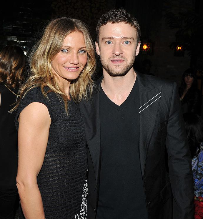 """**Cameron Diaz and Justin Timberlake**<br><br>  **Age difference:** 9 years<br><br>  Cameron Diaz and singer Justin Timberlake, who is now married to Jessica Biel, dated on-and-off for four years from 2003 to 2007.<br><br>  Diaz, now 47, was about 31 when she first began seeing Timberlake, who was roughly 22 at the time. In 2004, the *Sweetest Thing* star weighed in on the public's interest in their age difference in an interview with *W* magazine.<br><br>   """"It's not like this is the first time in the history of human relationships that people were drawn to one another because of who they are, not what age they are,"""" she said (quote via [*People*](https://people.com/celebrity/justin-timberlake-and-cameron-diaz-break-up/