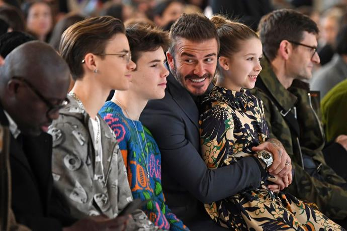 Romeo, Cruz, David and Harper Beckham at Victoria Beckham.