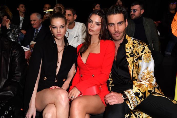 Barbara Palvin, Emily Ratajkowski and Jon Kortajarena at Versace.