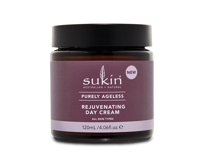"""Purely Ageless Rejuvenating Day Cream by Sukin, $22.49 at [Priceline Pharmacy](https://www.priceline.com.au/sukin-purely-ageless-rejuvenating-day-cream-120-ml