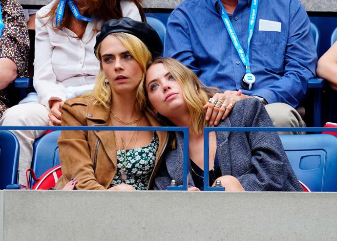 Sharing some PDA (and Delevingne in a leather Dior beret) at the U.S. Open in September 2019.