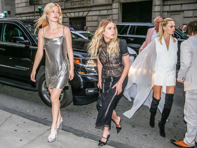 Benson and Delevingne with fellow It-girl Georgia May Jagger in New York in June 2019.