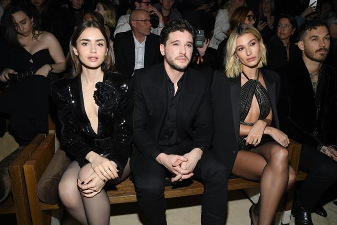 Lily Collins, Kit Harington and Hailey Bieber at Saint Laurent.