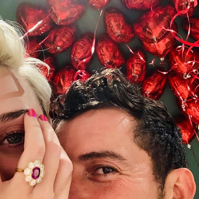 "**Katy Perry**<br><br>  Katy Perry shared a cutely posed close-up of her very different engagement ring in a photo with fiancé Orlando Bloom in February 2019.<br><br>  *Image via [@katyperry](https://www.instagram.com/p/Bt5gRBDHNZl/|target=""_blank""