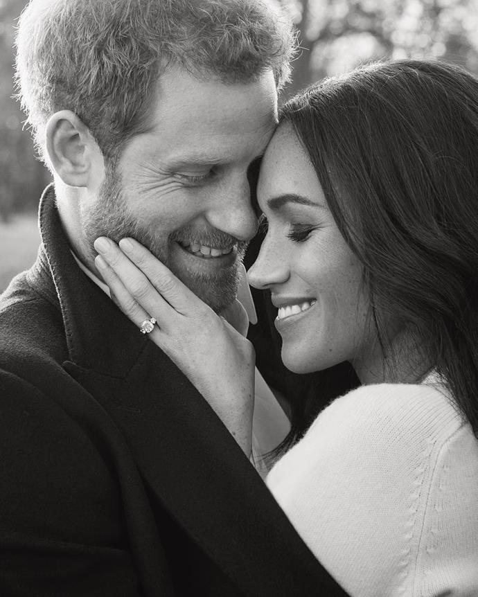 "**Meghan Markle**<br><br>  Meghan Markle and Prince Harry marked their engagement with a joyous Instagram post, showcasing the now-Duchess' stunning ring in December 2017 (before she had it [remodelled in 2019](https://www.harpersbazaar.com.au/celebrity/meghan-markle-engagement-ring-remodel-18849|target=""_blank"")).<br><br>  *Image via [@kensingtonroyal](https://www.instagram.com/p/Bc9qZ4vgFKA/
