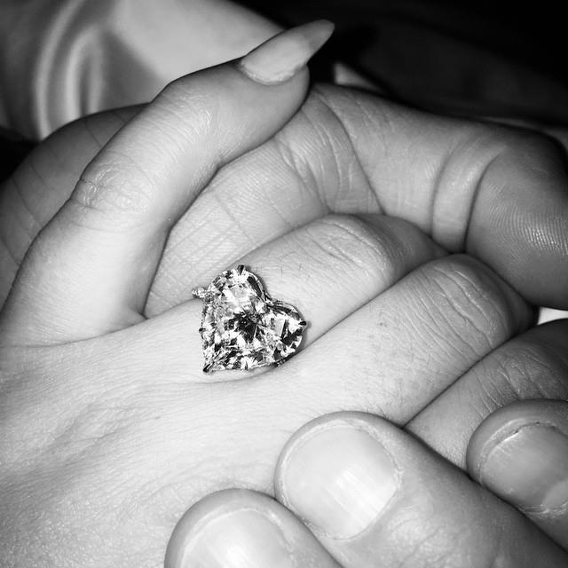 "**Lady Gaga**<br><br>  Although they are no longer together, Lady Gaga's 2015 heart-shaped ring shot and pun perfect caption ""He gave his heart to me on Valentine's Day, and I said YES!"") is still a sight to see.<br><br>  *Image via [@ladygaga](https://www.instagram.com/p/zLTE0fJFNd/