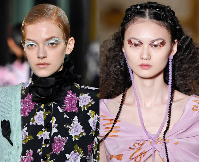 **The trend: Fragmented foil<br> Who did it: Erdem and Simone Rocha**<br> Foiled shadow reigned supreme in London with Erdem opting for frosty silver and Simone Rocha encrusting eyes with a ruby hue. The trick to the trend? Apply gloss onto lids, then press foil on in abstract shapes.
