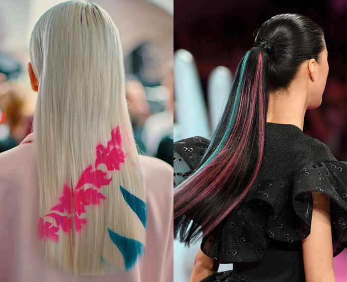 **The trend: Rainbow manes<br> Who did it: Emilio Pucci and Christian Siriano**<br> Call it the Harley Quinn effect, but the strands swishing down the runways at Emilio Pucci and Christian Siriano were adorned with graphics and peppered with coloured pieces, all in pink and blue hues.