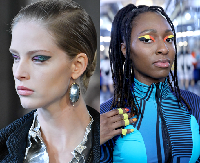 **The trend: Feline colour-blocking<br> Who did it: Altuzarra and Chromat**<br> We've never met a graphic eyeshadow design we didn't like, and the multi-toned wings at Altuzarra and Chromat proved that shadow colour-blocking (of both the metallic and neon varieties) is alive and well.