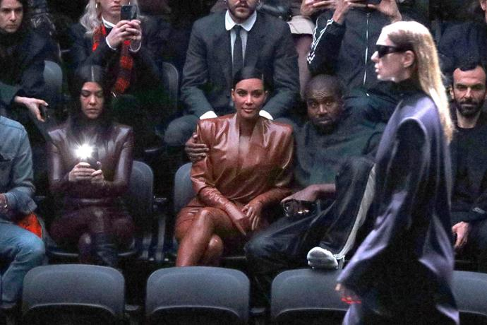 Kourtney Kardashian, Kim Kardashian West and Kanye West at Balenciaga.
