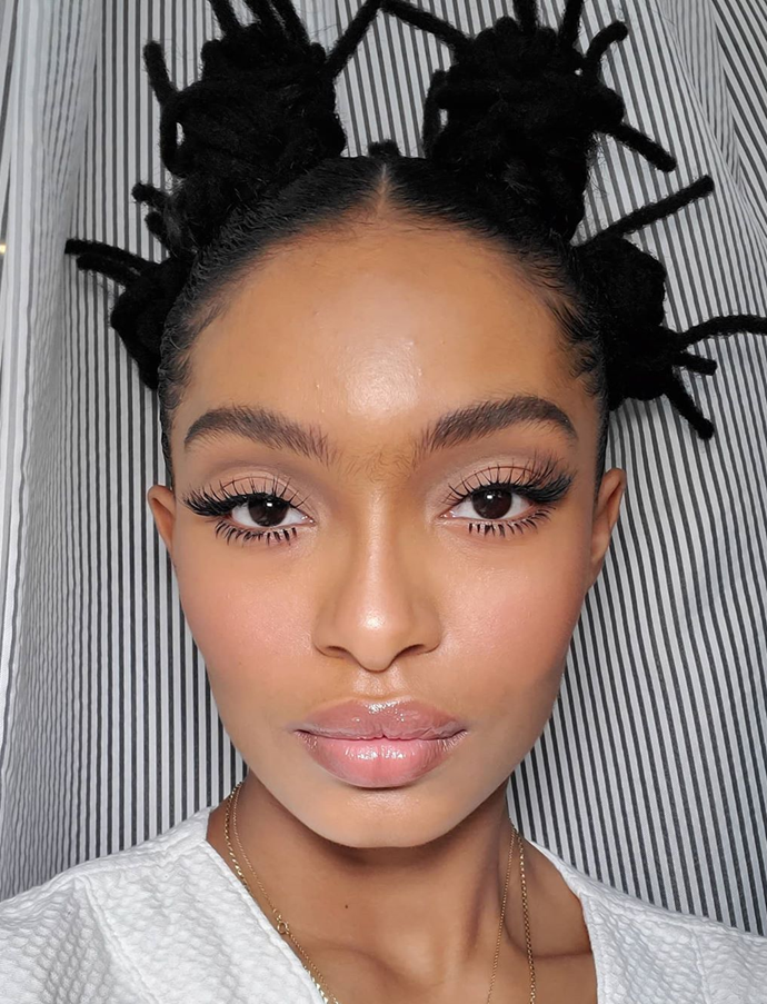 "Space buns and spider lashes? Yes times infinity.<br></br> *Via: Instagram/[@yarashahidi](https://www.instagram.com/yarashahidi/|target=""_blank""