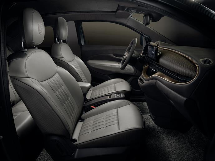 """For the interior, Giorgio Armania upholstered the seats in certified full-grain natural leather, """"sourced from Poltrona Frau, in a """"greyge"""" colour with microchevron wool bands, embellished with details taken from the craftsmanship of the best leather goods."""""""