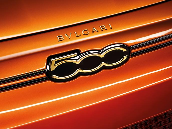 """According to Bulgari, """"the """"saffron"""" paint emphasises the character of the car as a """"jewel"""", based on the inclusion of gold powder, recovered from the scraps of jewellery production."""""""