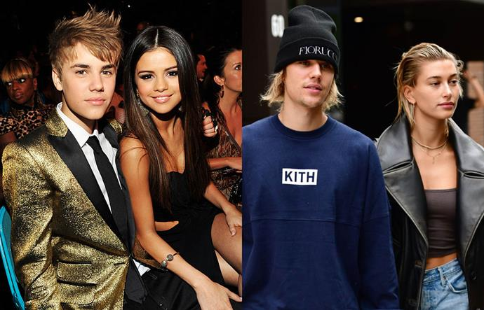 """**Selena Gomez, Justin Bieber and Hailey Bieber (then Baldwin)**<br><br>  Shortly after Selena Gomez and Justin Bieber's (final) breakup in 2018, he and Hailey Baldwin announced that they were engaged to be married, much to the chagrin many of 'Jelena' fans. <br><br>  Gomez opened up about the hurt she felt when Bieber moved on in her song 2019 hit song [""""Lose You To Love Me""""](https://www.elle.com.au/celebrity/selena-gomez-lose-you-to-love-me-justin-bieber-22507