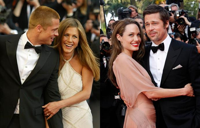 """**Jennifer Aniston, Brad Pitt and Angelina Jolie**<br><br>  Arguably one of the biggest love triangles in Hollywood history, the Jennifer-Brad-Angelina tale has spawned more headlines than we could ever hope to count.<br><br>  As the well-known story goes, Aniston and Pitt had been married for four years when Pitt met Jolie on the set of *Mr. & Mrs. Smith* in 2004.<br><br>  Not long afterwards, the pair began working together, rumours that the two were having an affair started to circulate. Aniston filed for divorce in 2005, 'Brangelina' started dating publicly and were together for almost a decade before they eventually married in 2014.<br><br>  Pitt and Jolie [split in 2016](https://www.harpersbazaar.com.au/celebrity/angelina-jolie-brad-pitt-divorce-split-5301