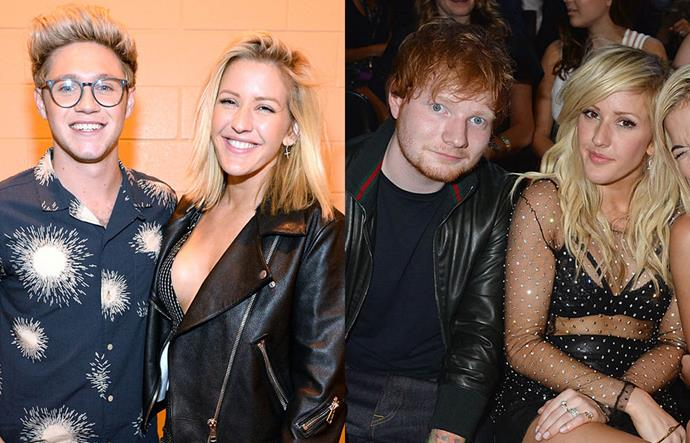 """**Niall Horan, Ellie Goulding and Ed Sheeran**<br><br>  This particularly confusing love triangle all started when Ed Sheeran released his 2014 single """"Don't"""". The song featured a lyric that the tabloids at the time immediately surmised was about Ellie Goulding supposedly leaving/cheating on Sheeran to be with One Direction's Niall Horan in 2013.<br><br>  In 2015, Goulding told [*ELLE* U.K.](http://www.elleuk.com/now-trending/ellie-goulding-covers-elle-uk-july-2015-the-body-issue