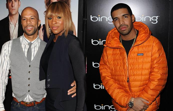 """**Common, Serena Williams and Drake**<br><br>  In 2012, reports started flying that rappers Drake and Common were feuding, and in 2014, Common confirmed that it all came down to Drake reportedly dating his ex-girlfriend, tennis star [Serena Williams](https://www.elle.com.au/celebrity/serena-williams-sharon-strzelecki-uber-eats-22934
