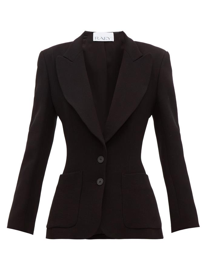 """**The 'hourglass' piece** <br><br> While some people prefer their blazers boxy and oversized (with brands like Balenciaga and The Row favouring purposeful bagginess), there's something just as appealing about a blazer that accentuates your figure. This piece by British brand Raey is as hourglass-accentuating as it is flattering, and provides a sultry take on a workwear must-have. <br><br> *Wide-lapel fitted wool jacket by Raey, $742 at [MATCHESFASHION](https://www.matchesfashion.com/au/products/Raey-Wide-lapel-fitted-wool-crepe-jacket-1342513