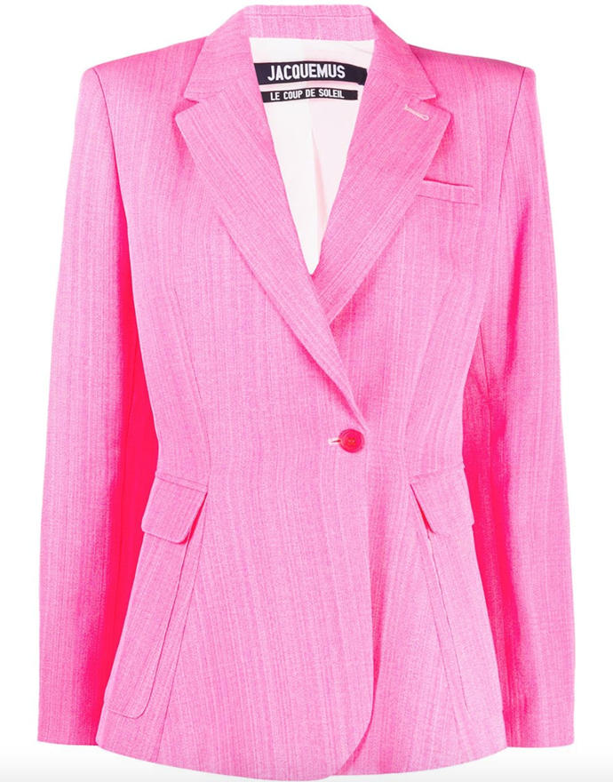"""**The experimental-coloured blazer** <br><br> Anyone can pull off a blazer in a vibrant hue, so make sure you're game enough. In terms of investment pieces in an exuberant shade, opt for an on-trend blue or hot pink, like Jacquemus' zesty pieces (which are well on their way to becoming new classics). <br><br> *La Veste Qui Vole blazer by Jacquemus, $1,729 at [Farfetch](https://www.farfetch.com/au/shopping/women/jacquemus-la-veste-qui-vole-blazer-item-14906056.aspx