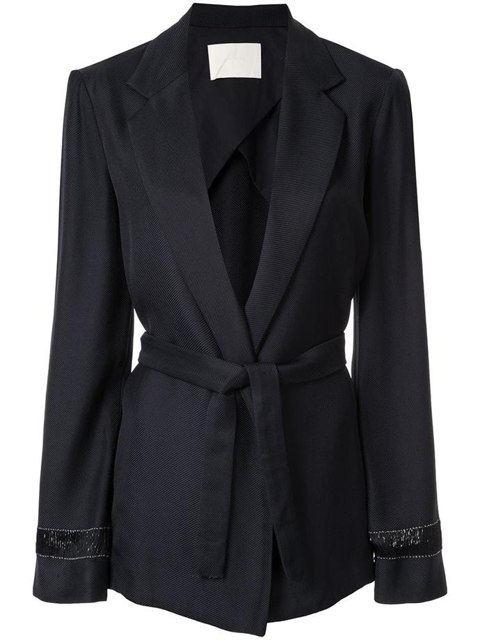 """**The wrap-waist blazer** <br><br> Buttons? Overrated. Sometimes a wrap-style, robe-like blazer is just as chic, and has the power to create a dramatic silhouette, too. Though they're available in many forms, Dion Lee's is as workwear-appropriate as it is everyday-cool. <br><br> *Belted wrap blazer by Dion Lee, $395 at [Farfetch](https://www.farfetch.com/au/shopping/women/dion-lee-belted-wrap-blazer-item-13960276.aspx