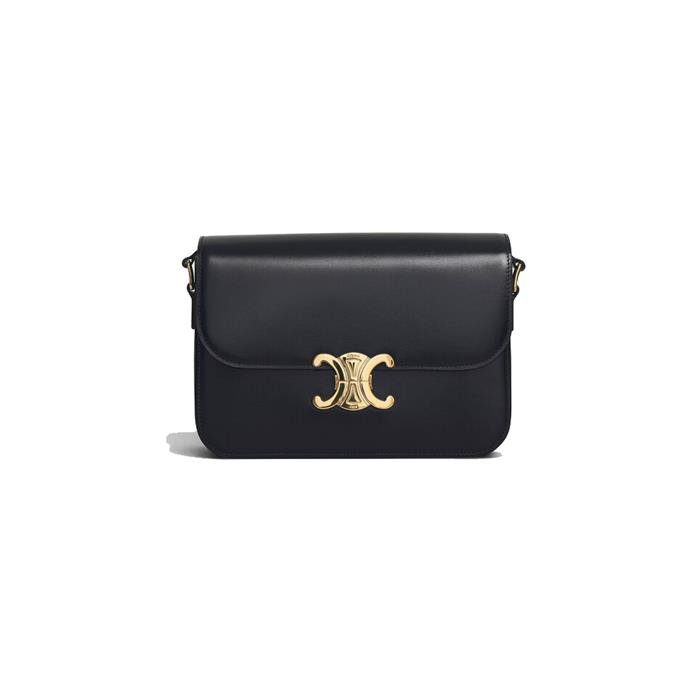 "*Medium 'Triomphe' handbag by Celine, $4,650 at [Celine](https://www.celine.com/en-au/celine-women/handbags/triomphe/medium-triomphe-bag-in-shiny-calfskin-187363BF4.38NO.html|target=""_blank""