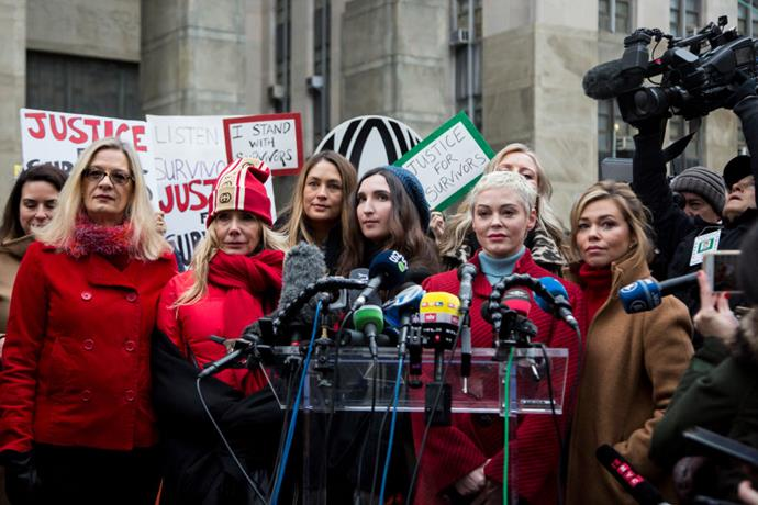 Women who have accused Weinstein of sexual assault gathered outside the New York Supreme Court at the start of his trial.