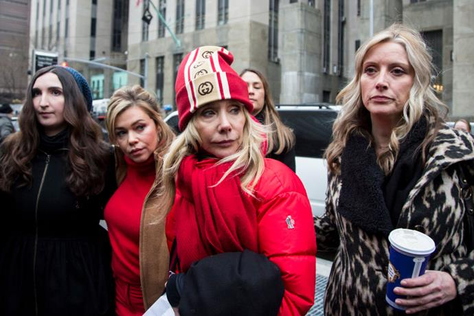 Actress Rosanna Arquette joins other accusers and protesters as Harvey Weinstein arrived at the Manhattan courthouse on January 6, 2020 in New York City.