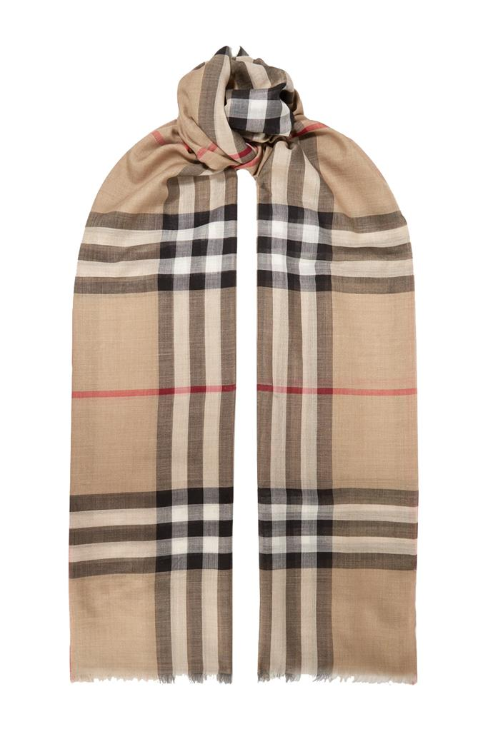 "**Frayed checked wool and silk-blend scarf by Burberry, $630 at [Net-a-Porter](https://fave.co/39IMWb9|target=""_blank""
