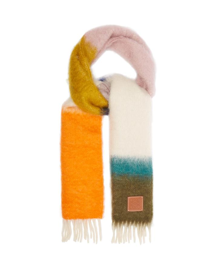 "**Striped mohair-blend scarf by Loewe, $365 at [MATCHESFASHION.COM](https://fave.co/38E6xrn|target=""_blank""