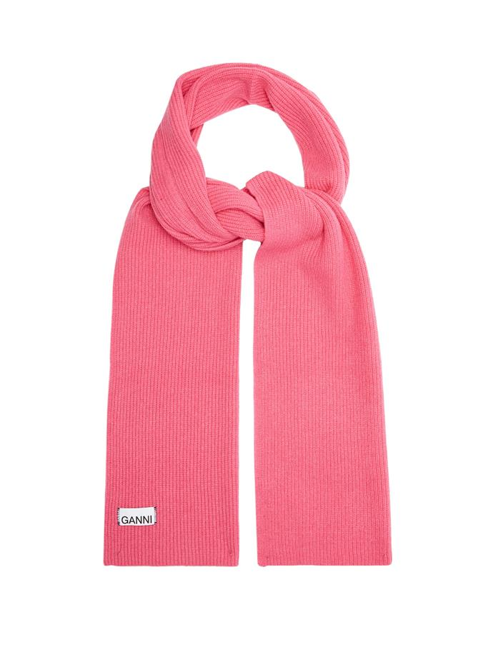 "**Ribbed wool-blend scarf by Ganni, $90 at [MATCHESFASHION.COM](https://fave.co/2WgChAD|target=""_blank""