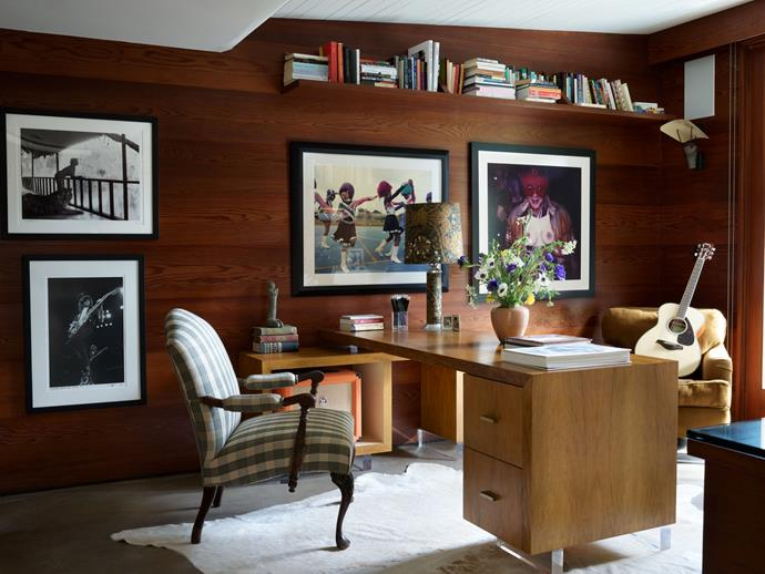 """The highly-Instagrammable office. <br><br> *Image by Simon Upton for [Architectural Digest](https://www.architecturaldigest.com/story/step-inside-dakota-johnsons-midcentury-modern-home