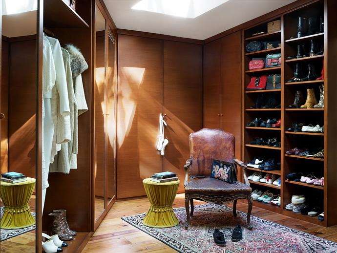 """The master closet (filled with Gucci, naturally). <br><br> *Image by Simon Upton for [Architectural Digest](https://www.architecturaldigest.com/story/step-inside-dakota-johnsons-midcentury-modern-home