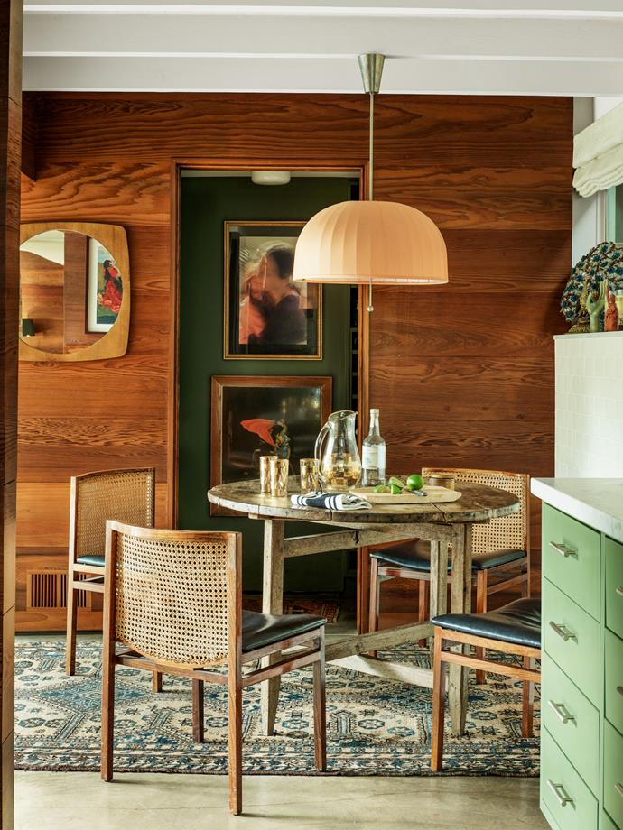 """The informal dining area outside the kitchen. <br><br> *Image by Simon Upton for [Architectural Digest](https://www.architecturaldigest.com/story/step-inside-dakota-johnsons-midcentury-modern-home
