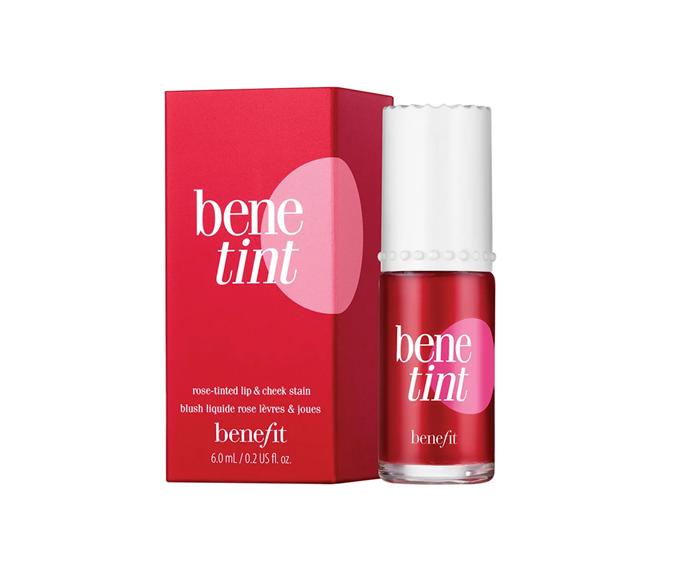 "**Benetint Cheek & Lip Stain, $33 by [Benefit Cosmetics](https://www.benefitcosmetics.com/au/en-gb/product/benetint#&sku=FM173|target=""_blank"")**"