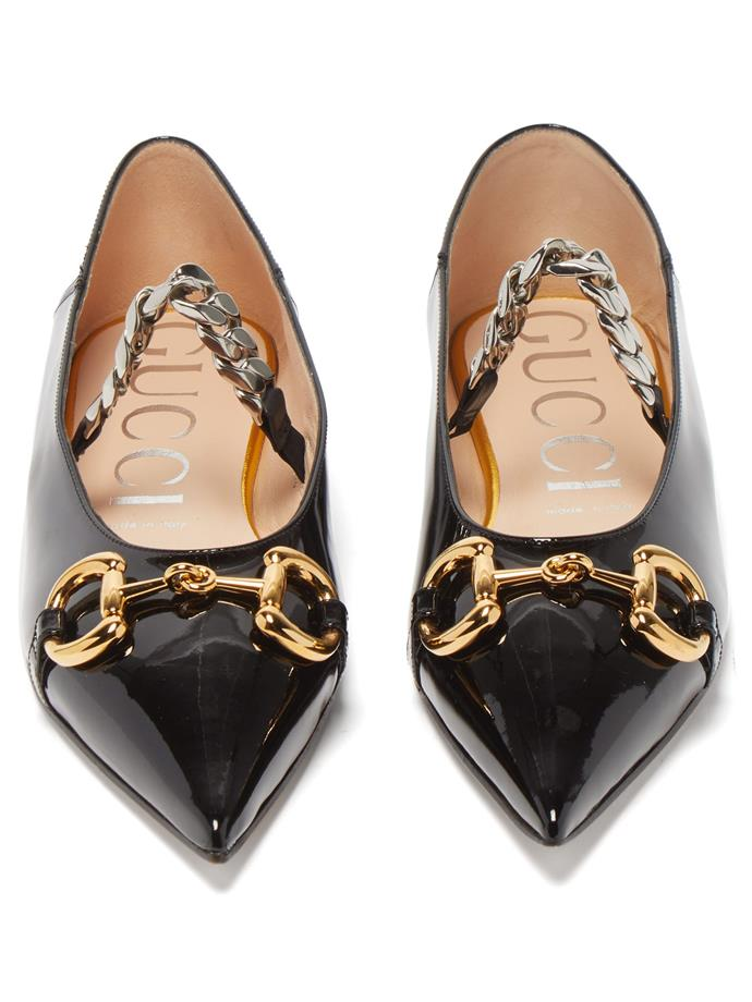 "**Flats With... Anything**<br><br>  Horsebit chain-bridge patent-leather flats by Gucci, $1,150 at [MATCHESFASHION.COM](https://www.matchesfashion.com/au/products/Gucci-Horsebit-chain-bridge-patent-leather-flats-1348215|target=""_blank""