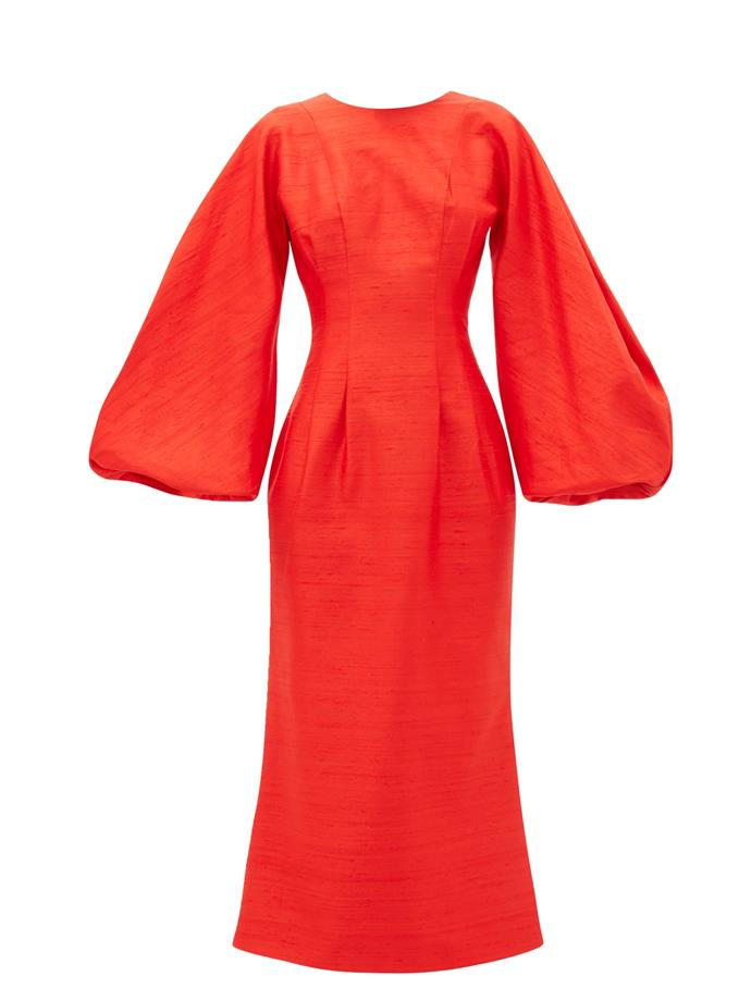 "**The New Workwear:**<br><br>  Balloon-sleeve raw-silk dress by Rasario, $2,327 at [MATCHESFASHION.COM](https://www.matchesfashion.com/au/products/Rasario-Balloon-sleeve-raw-silk-dress-1339637|target=""_blank""